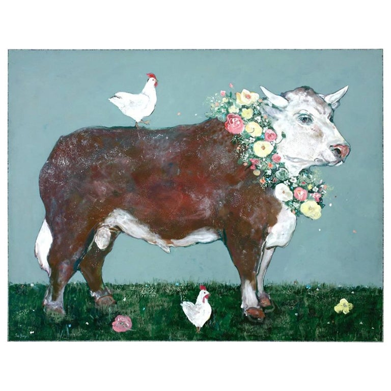 French Flowered Cow with Chickens Painting by Ira Yeager