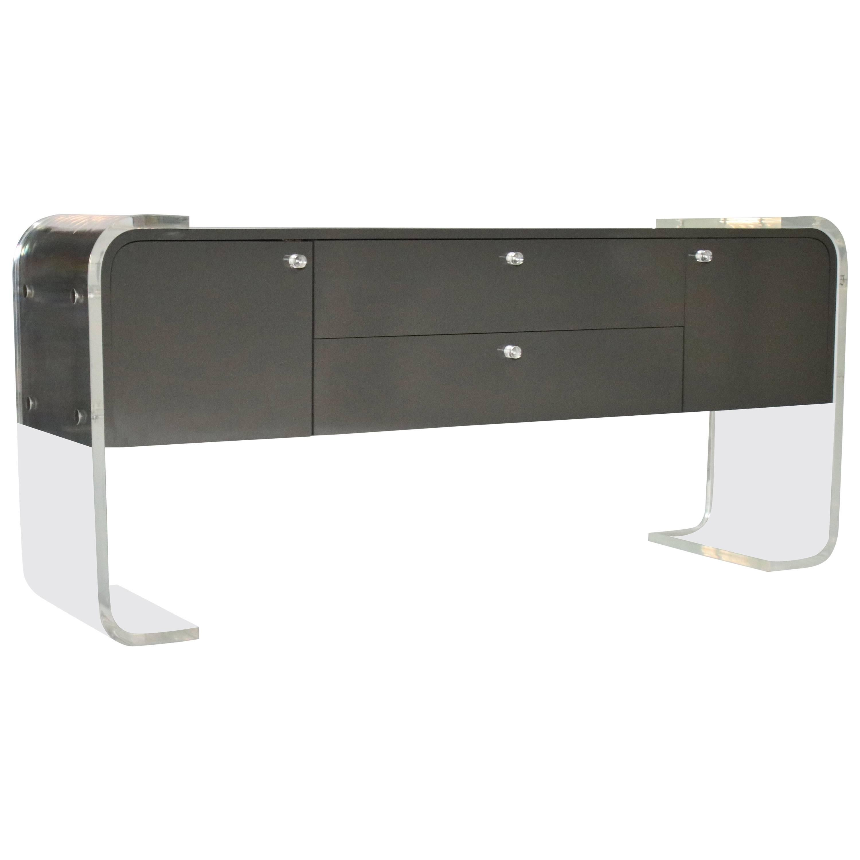 Lacquered Grey Sideboard W Antique Mirrored Fronts And Lucite Legs