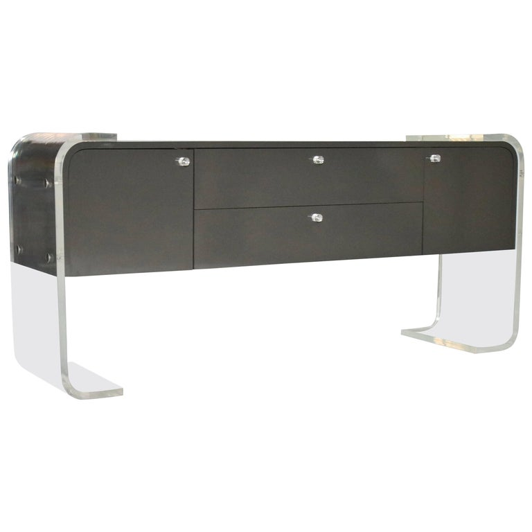 Lucite and Lacquered Wood Sideboard For Sale