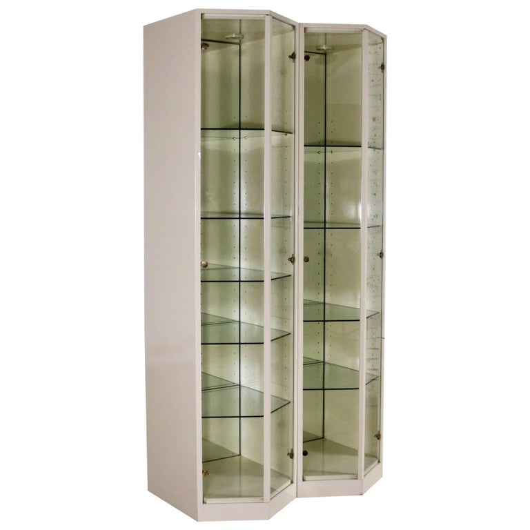Modern Ivory Lacquered Narrow V Front Lighted Display Cabinets Pair For