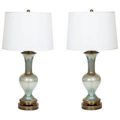 Pair of Vintage Celadon Iridescent Glass Table Lamps on Brass Base