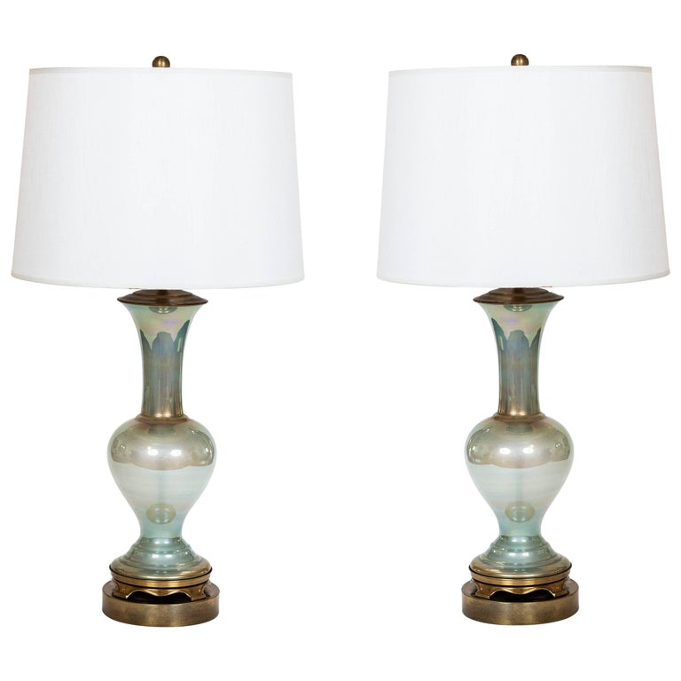 Pair of Vintage Celadon Iridescent Glass Table Lamps on Brass Base For Sale