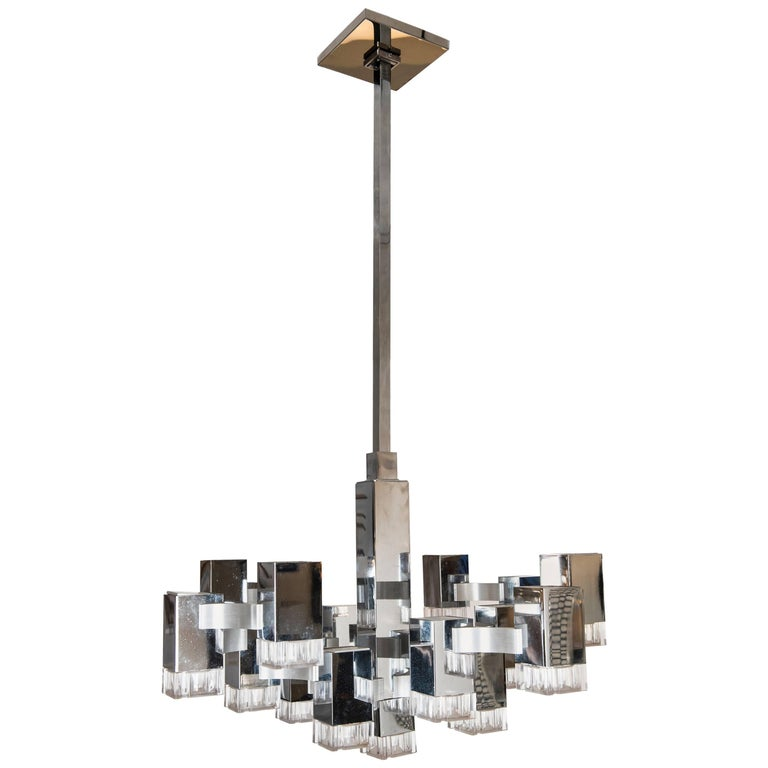 Vintage Cubist Pendant Light by Gaetano Sciolari For Sale