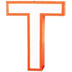 Vintage Mid-Century Lighting Letter T, Orange Metal Sign, 1960s, Austria