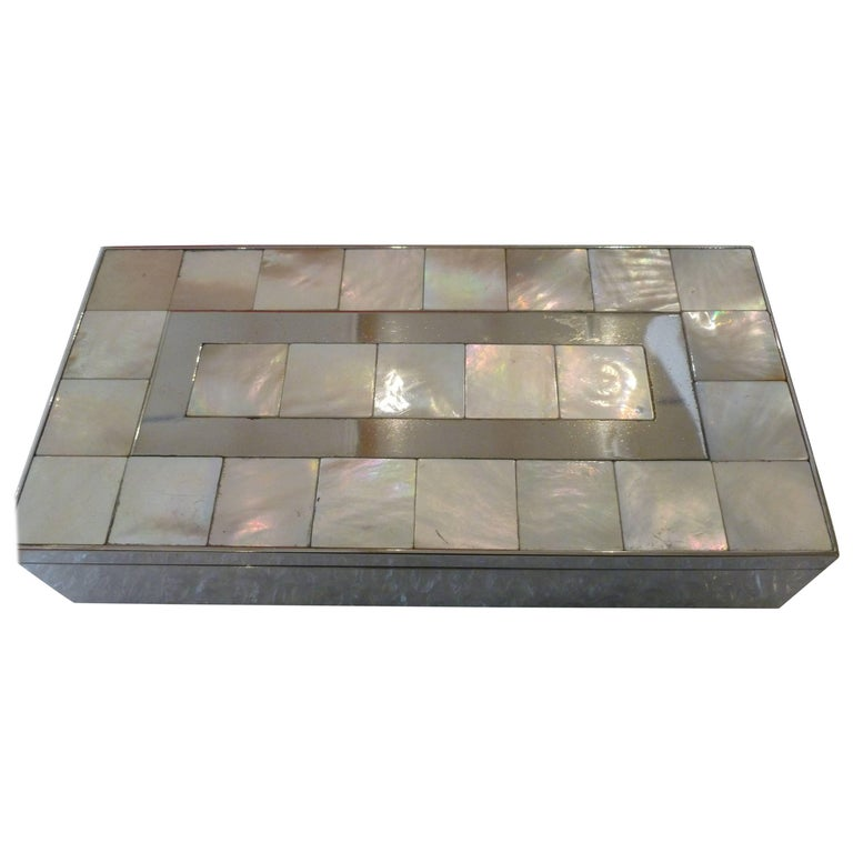 Mother-of-Pearl, Wood and Nickel Silver Rectangle Vintage Hinged Box