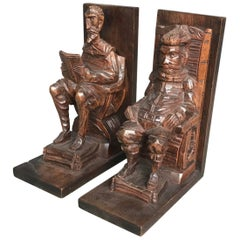 Hand-Carved Wooden Don Quixote and Sancho Panza Bookends