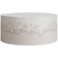 Drum Coffee Table, White Cement and Crystal Quartz by Fernando Mastrangelo