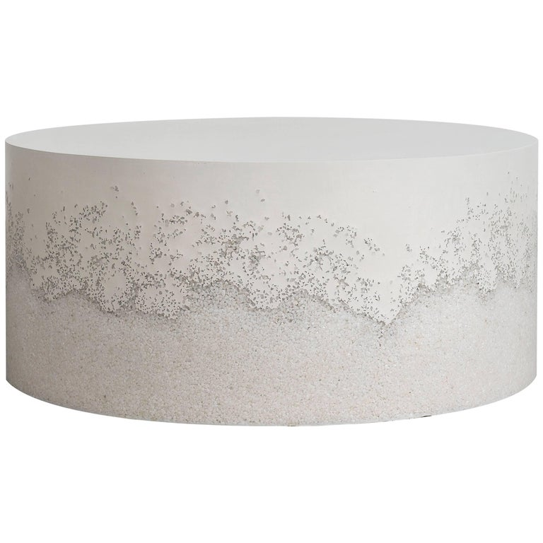 Drum Coffee Table White Cement And Crystal Quartz By Fernando Mastrangelo For