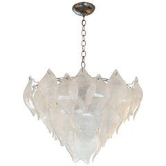 "Vintage Murano ""Leaf"" Chandelier Attributed to AV Mazzega"