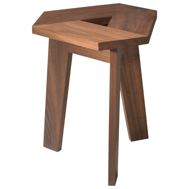 100xbtr Contemporary Tri Stool or Side Table in Walnut