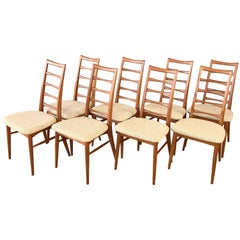 "Set of Eight Niels Kofoed for Koefoeds Hornslet ""Lis"" Teak Dining Chairs"