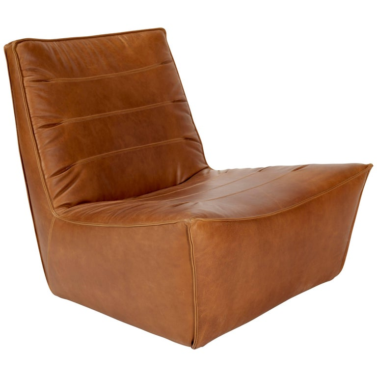 100xbtr Contemporary Pinch Lounge Chair in Whiskey Leather For Sale