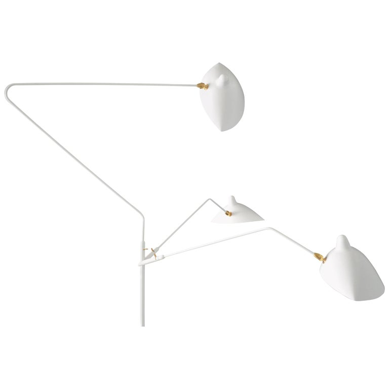 Standing Lamp with Three Arms in White by Serge Mouille