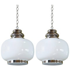"""Pair of European Hand-blown Milk Glass Pendants with Painted """"Nickel"""" Accents"""