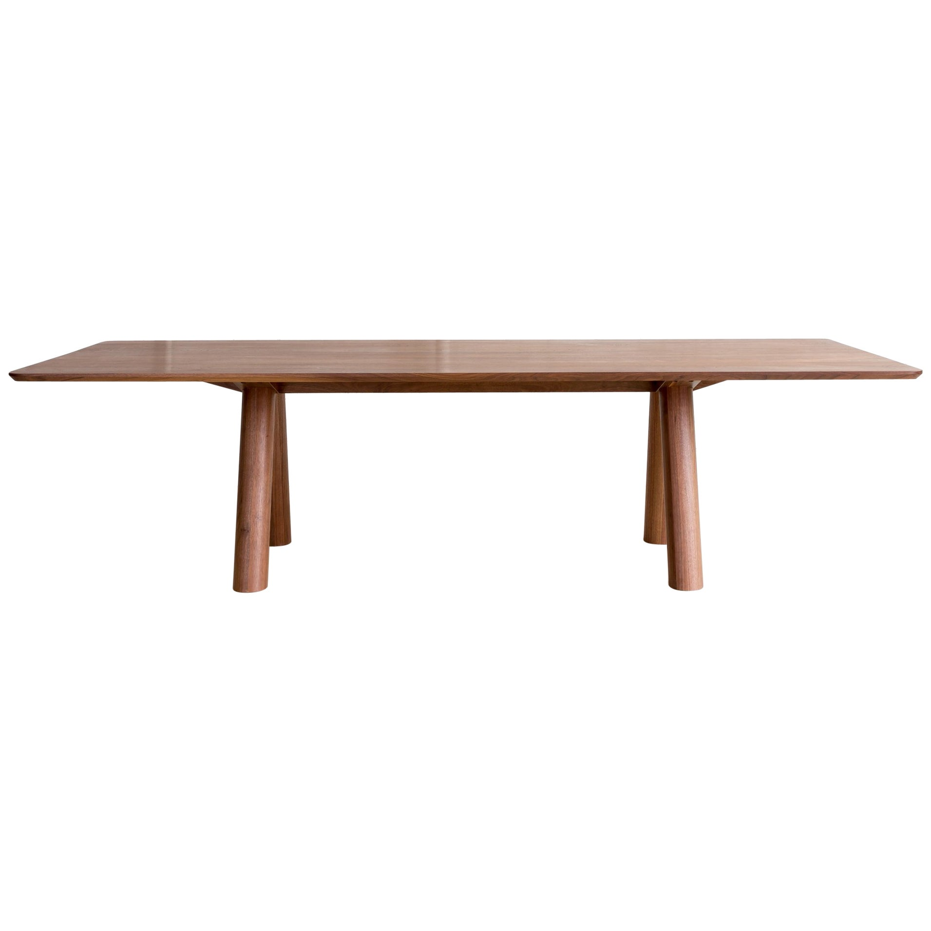 Contemporary Angled Leg Column Dining Table in Walnut Wood by Fort Standard