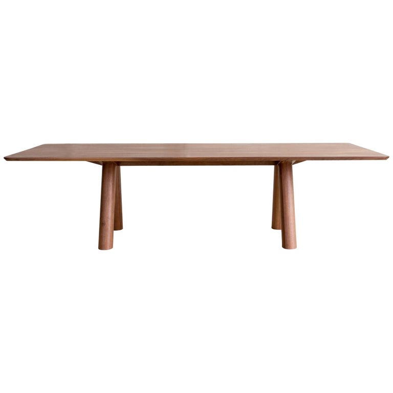 Contemporary Angled Leg Column Dining Table in Walnut by Fort Standard, in Stock For Sale