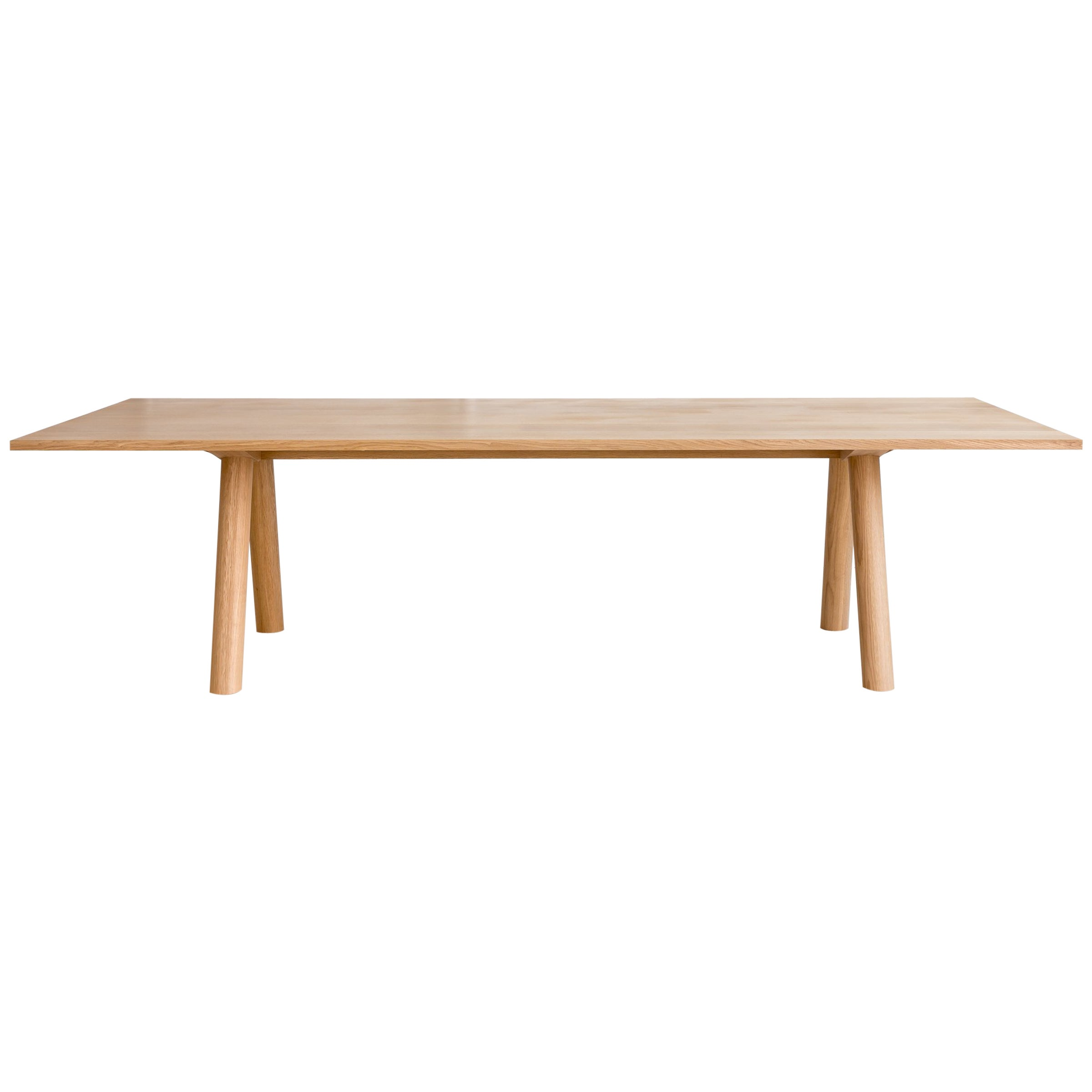 Contemporary Wood Angled Leg Column Dining Table in White Oak by Fort Standard