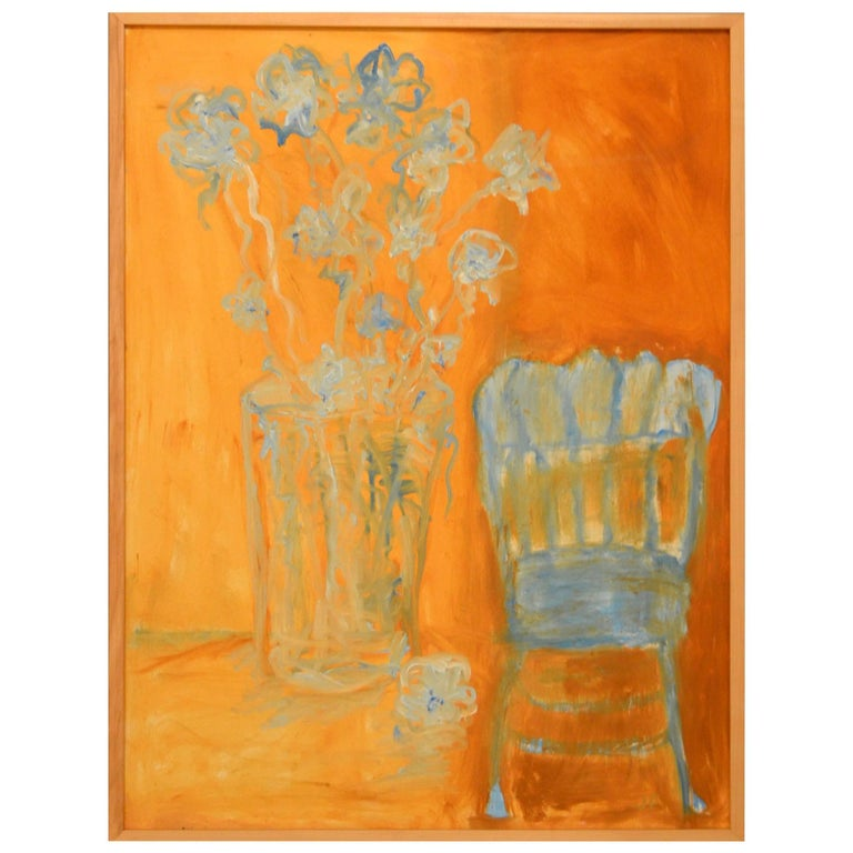 Expressionist Still Life, Blue Flowers and Blue Chair by JoAnne Fleming