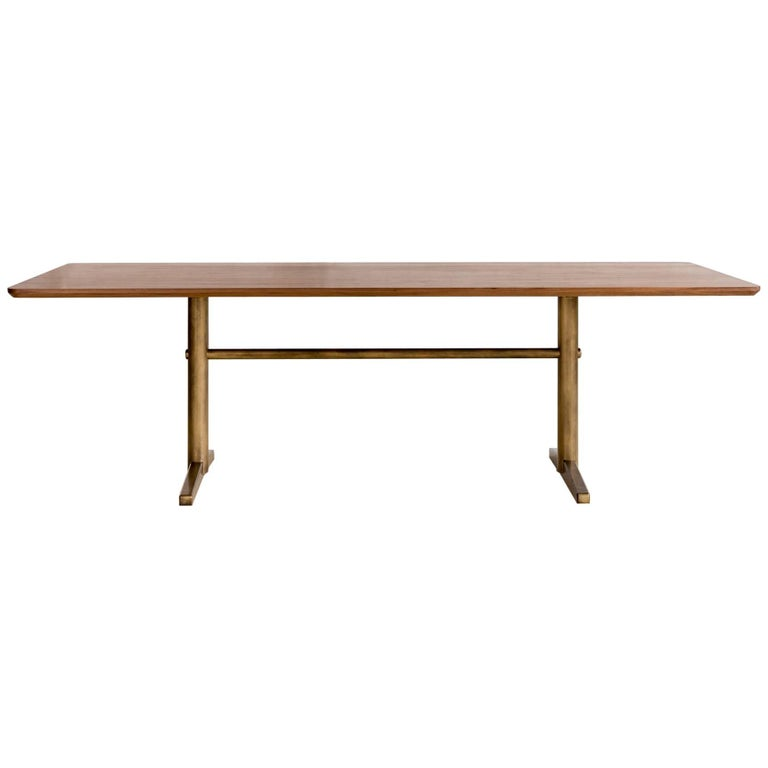 Pillar Dining Table in Walnut and Brushed Brass by Fort Standard, in Stock For Sale