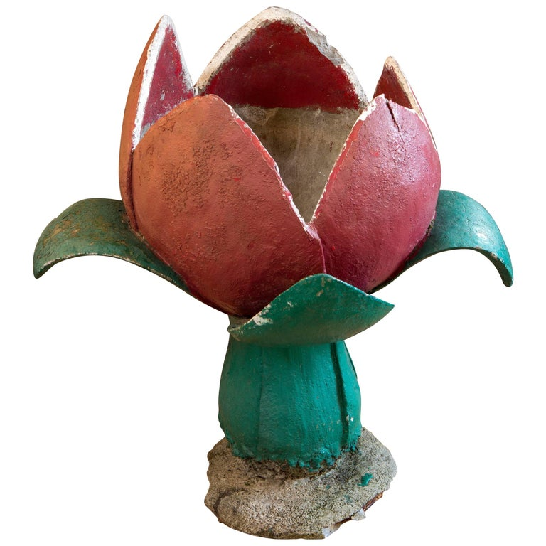 """Hand-Made Belgian """"Tulip"""" Painted Concrete Planter/Jardinere For Sale"""
