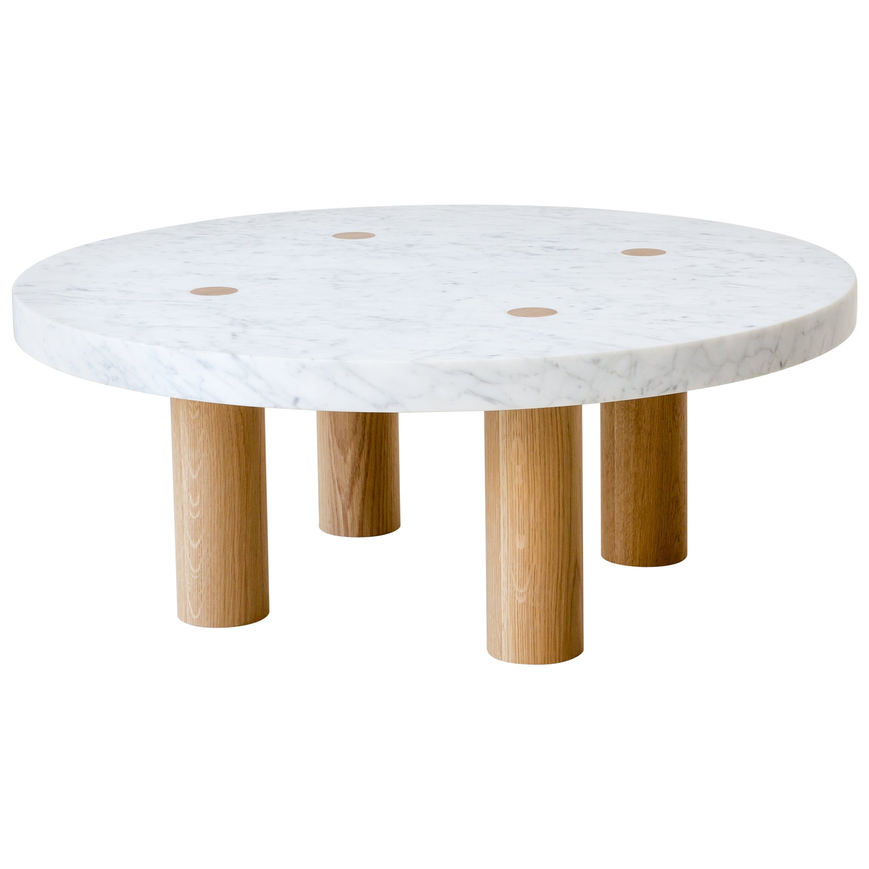 Stone Column Coffee Table in Carrara Marble and White Oak Wood by Fort Standard
