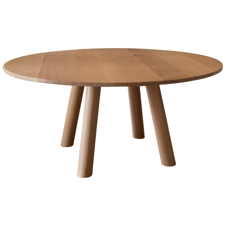 Contemporary Wood Round Column Dining Table in White Oak by Fort Standard For Sale