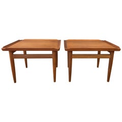 Pair of Kurt Østervig for Jason Møbler Teak and Oak Side Tables