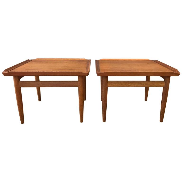 Pair of Kurt Østervig for Jason Møbler Teak and Oak Side Tables