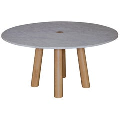 Round Stone Column Dining Table in Marble and White Oak Wood by Fort Standard