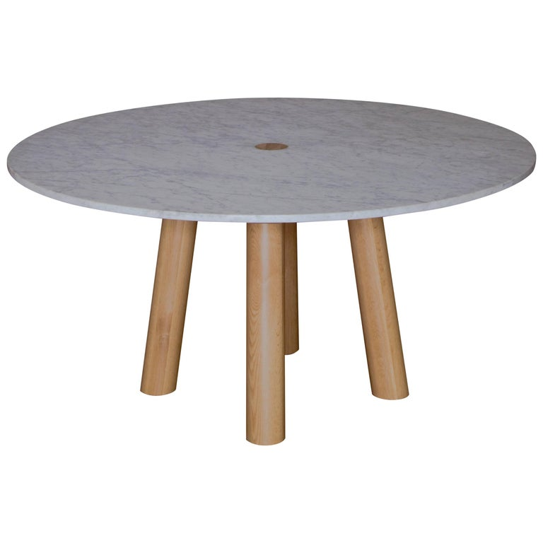 Round Stone Column Dining Table in Marble and White Oak Wood by Fort Standard For Sale