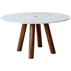 Stone Column Dining Table in Marble and Walnut Wood by Fort Standard, in Stock