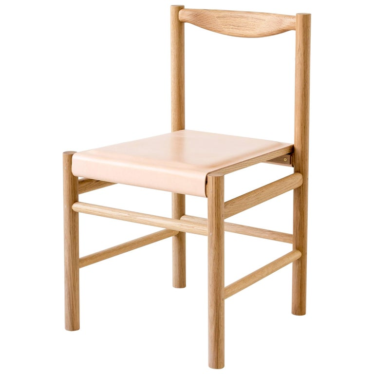 Range Dining Chair in White Oak and Leather by Fort Standard