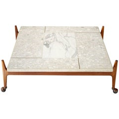 Terrazzo and Walnut Coffee Table by Harvey Probber