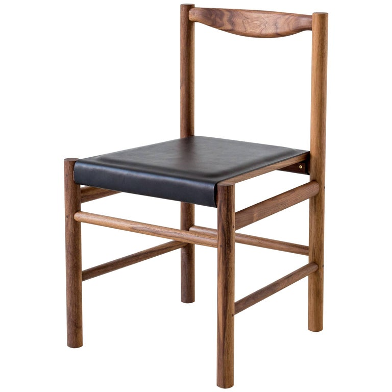 Range Dining Chair in Walnut and Leather by Fort Standard, in Stock