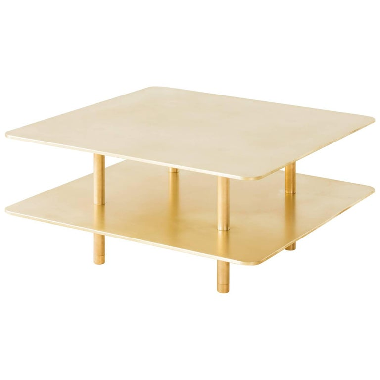 Contemporary Two Tier Strata Coffee Table in Brass by Fort Standard, in Stock For Sale