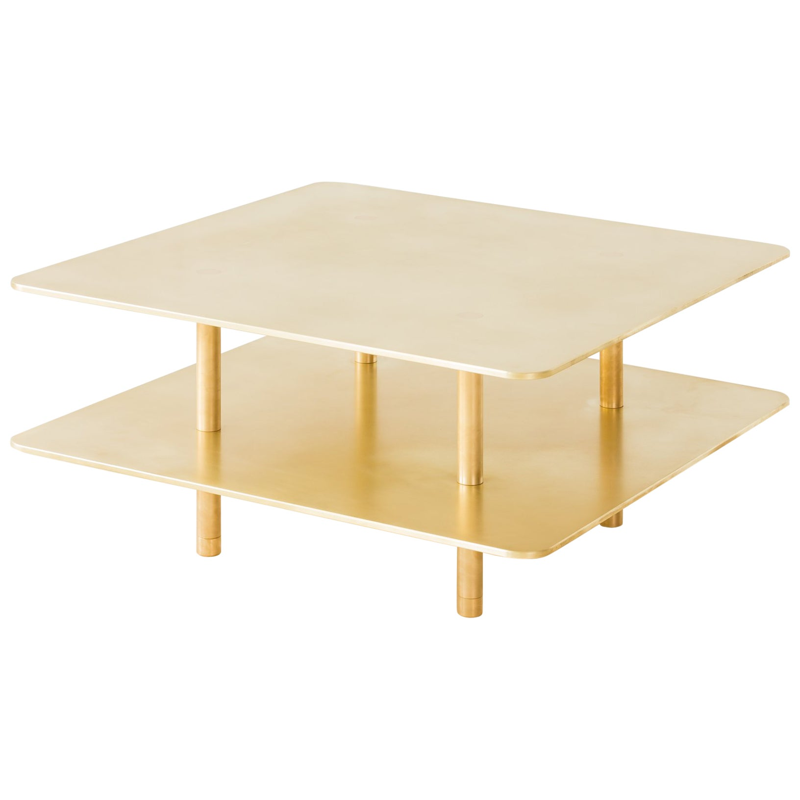 Contemporary Two Tier Strata Coffee Table in Brass by Fort Standard, in Stock