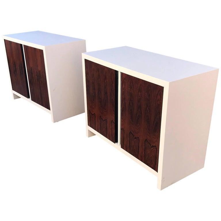 Mid-Century Modern Pair of Dresser Wrosewood Doors, After Glenn of California