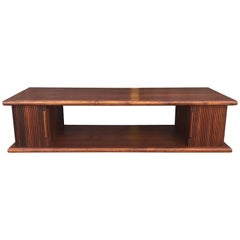 Mid-Century Modern Walnut Coffee Table with Tambour Doors
