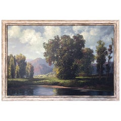 Antique Landscape Oil Painting by A D Greer