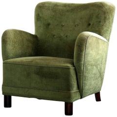Danish Midcentury, 1940s Mogens Lassen Attributed Lounge Chair in Mohair Velvet