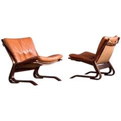 Pair of Midcentury Norwegian Easy Chairs in Cognac Leather by Oddvin Rykken