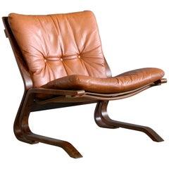 Scandinavian Midcentury Easy Chair in Cognac Leather by Oddvin Rykken, Norway