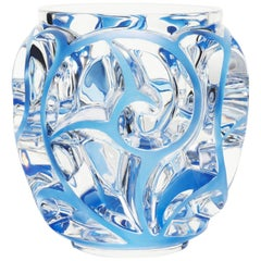 Lalique Tourbillons Vase Clear Crystal/Blue Patina