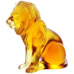 Lalique Bamara Lion Amber Crystal