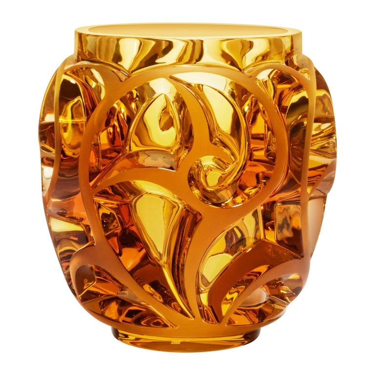 Lalique Tourbillons Vase Amber Crystal