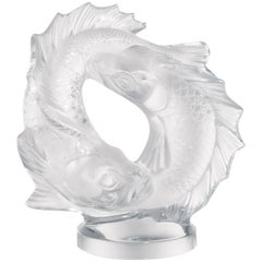 Lalique Large Double Fish Figure in Clear Crystal