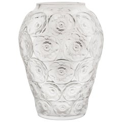 Lalique Anemones Vase Clear Crystal