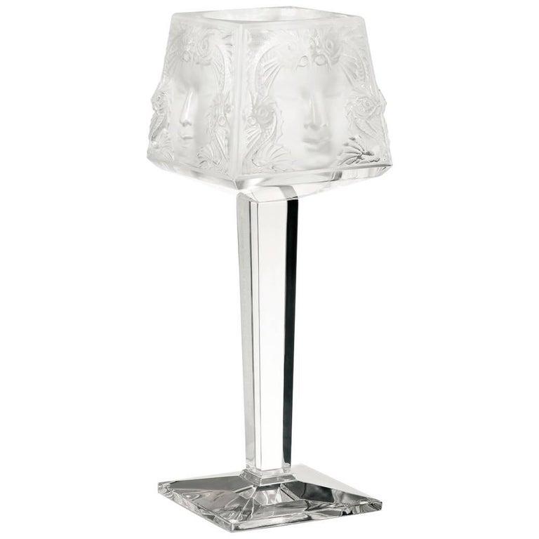 Lalique Masque De Femme Votive on Stand Clear Crystal For Sale