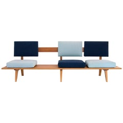 1958 Two-Tone Blue Sofa in Pau Marfim Wood by Acácio Gil Borsoi, Brazil Modern