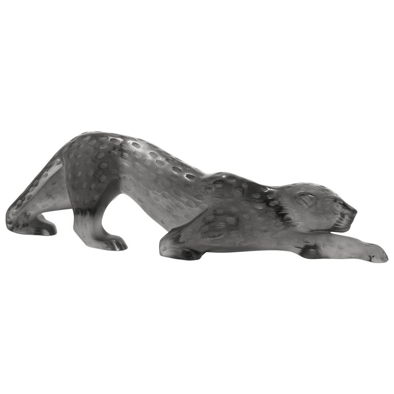 Lalique Zeila Panther Sculpture Gray Crystal